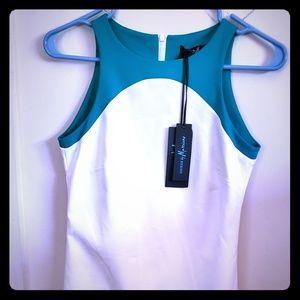 Teal B&W Dress